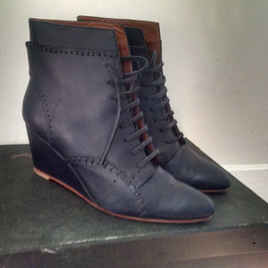Rachel Comey Lace Up Wedge Bootie Navy Blue